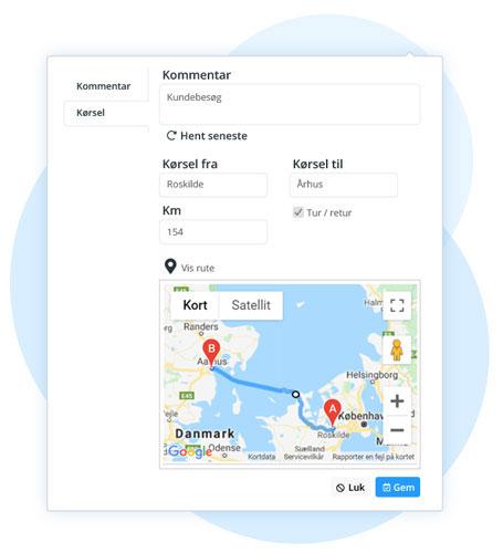 tidsregistrering timeseddel google maps